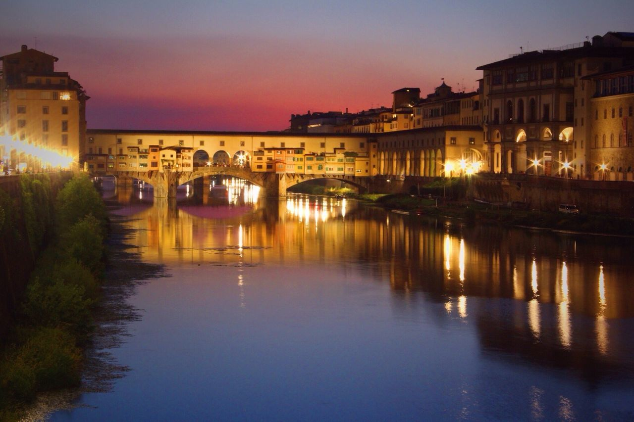 Ponte Vecchio, Italy Italy Built Structure Building Exterior Architecture Illuminated Water Sunset Dusk Reflection Waterfront River Connection Bridge - Man Made Structure Night City History Travel Destinations Sky Arch City Life Outdoors Sunset_collection