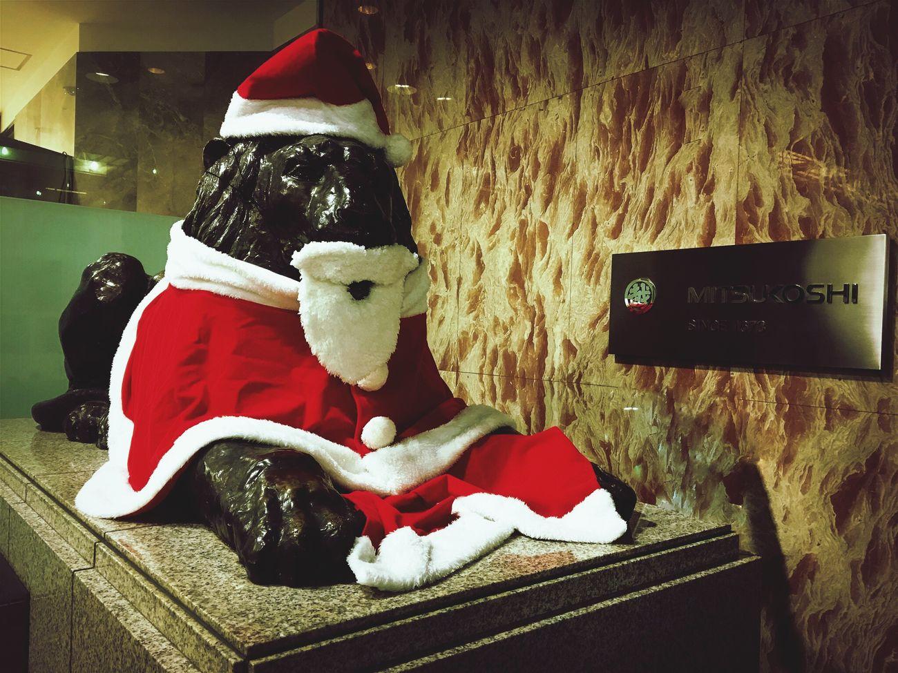ライオンサンタ♬ 今年はボッチのクリスマスで、一人で歩くのが恥ずかしかった〜(● ˃̶͈̀ロ˂̶͈́)੭ꠥ⁾⁾ Christmas Christmas Decoration Hello World Lion Santa Claus Cosplay Bronze Statue Mitsukoshi Sendai Miyagi Japan