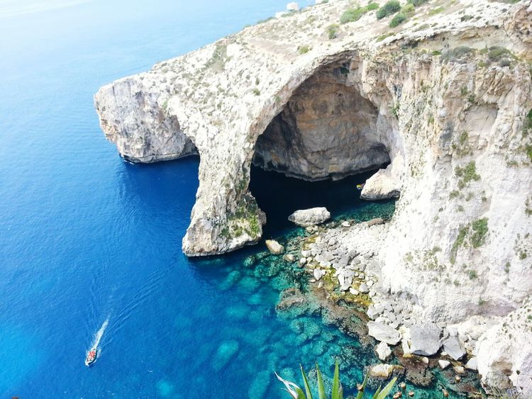 Blue Grotto Cliff Nature Beauty In Nature Water Sea High Angle View Rock Formation Arch Remote Malta