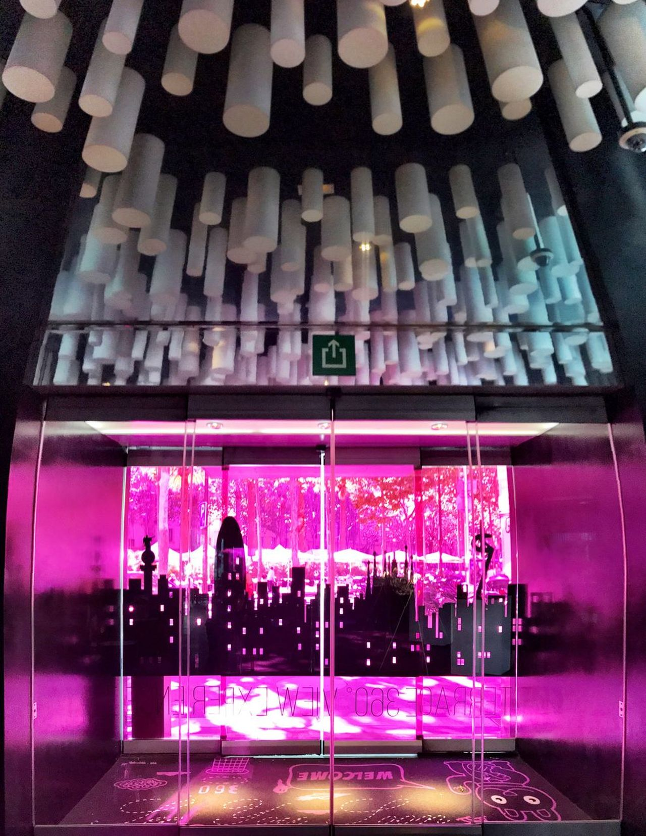 Modern Shotoniphone7 No People Illuminated Night Indoors  Pink Color Architecture Built Structure Entrance Sliding Door Ceiling Ceiling Design
