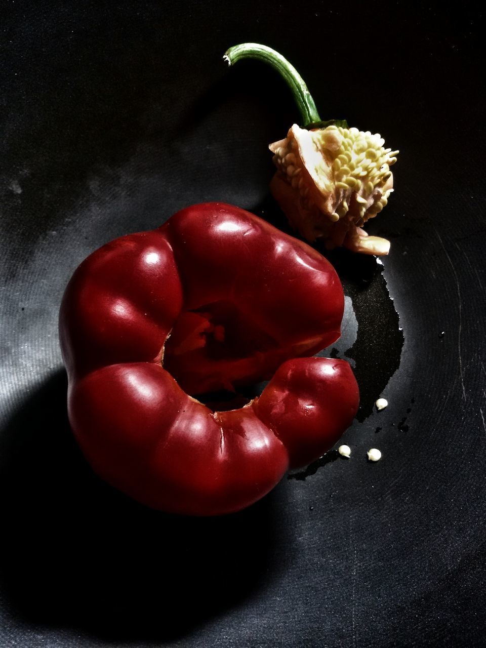 food and drink, food, still life, healthy eating, vegetable, freshness, red, indoors, table, no people, high angle view, close-up, tomato, studio shot, black background, day