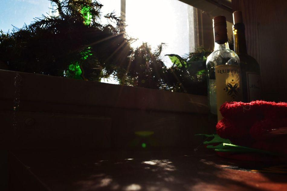 Bottle Dark Illuminated Light And Shadow Mittons Red Sunlight