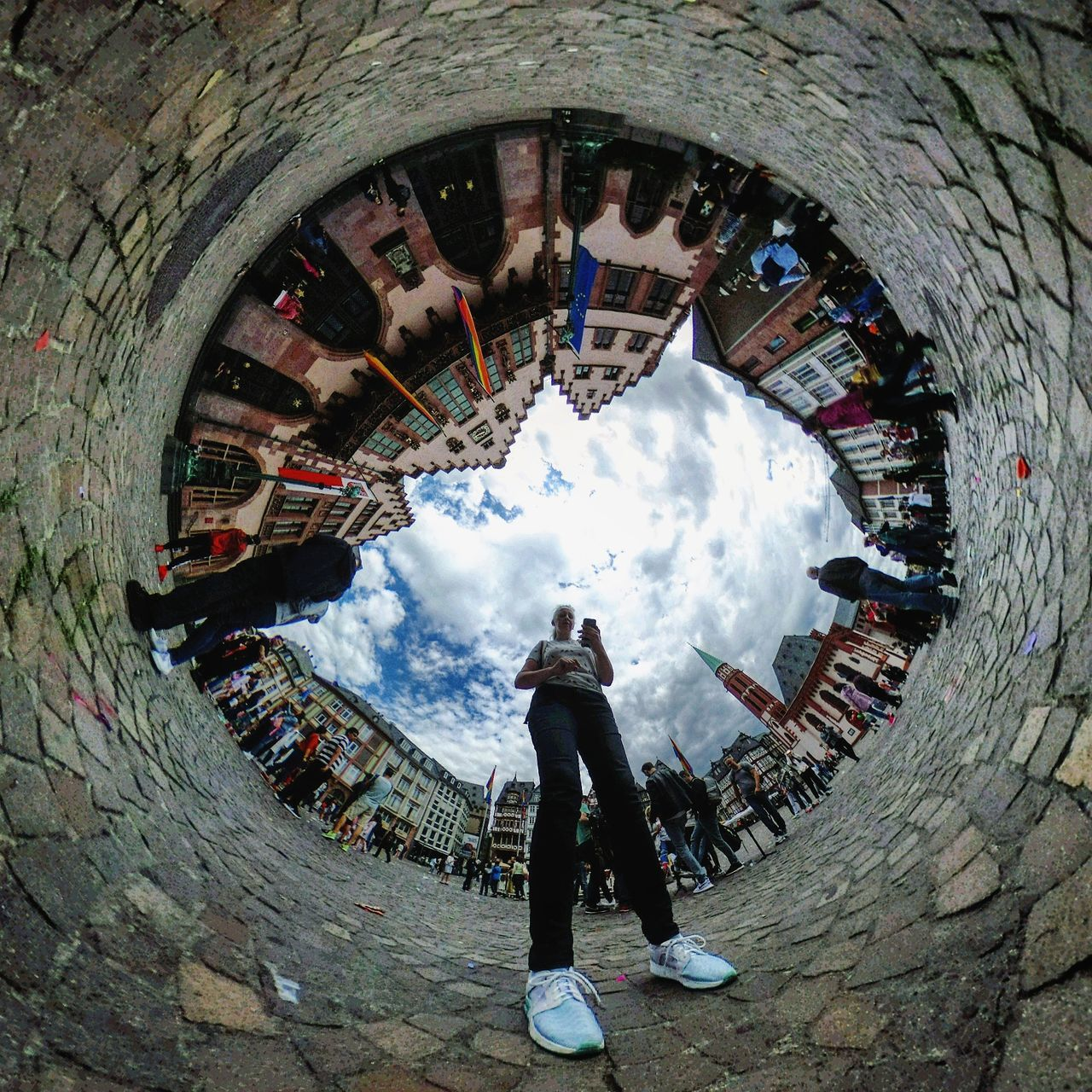 Howdy... Theta360 Real People One Person Full Length Day Cloud - Sky Fish-eye Lens Leisure Activity Outdoors Lifestyles People Sky Architecture Adult Adults Only Thetameetfrankfurt