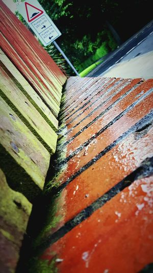 This Is Perspective day 7. Not Just A... Wet Wall Fence Different Angle Perspective Rainy Day Red Brick Wall