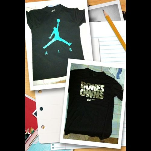 My Nike Shirts . Hehe! On the right is an accidental gift to myself. On the left a gift given just today. Courtesy of Kicksontheblock weee!