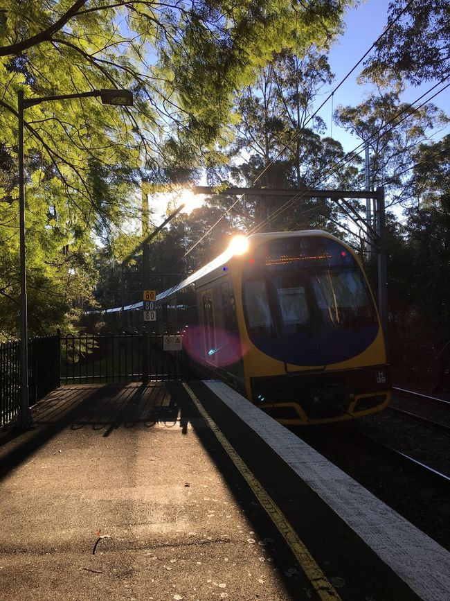 Heading north with a spot of sun Train Railway