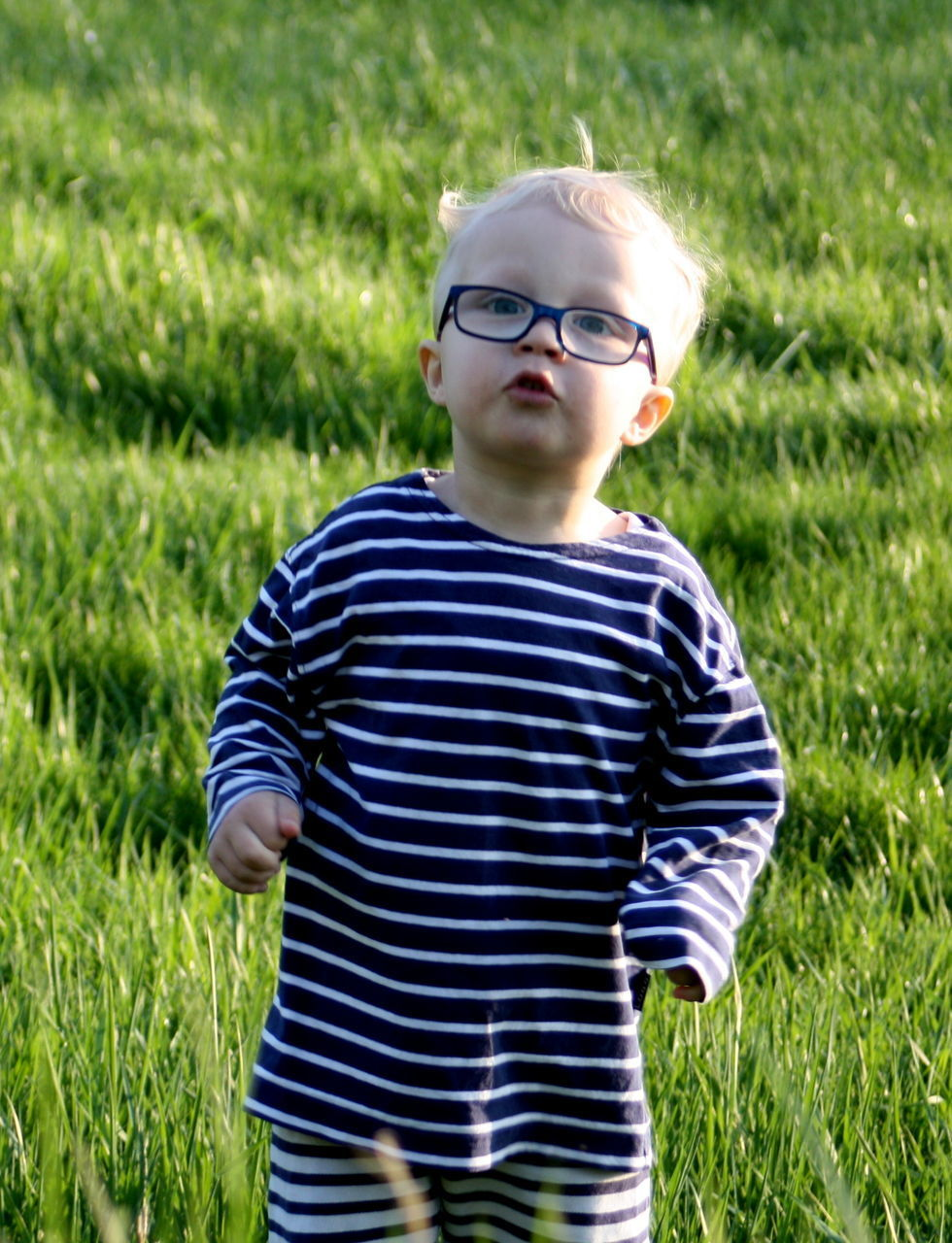 striped, grass, eyeglasses, childhood, child, boys, children only, one boy only, waist up, one person, looking at camera, portrait, males, blond hair, standing, outdoors, day, people