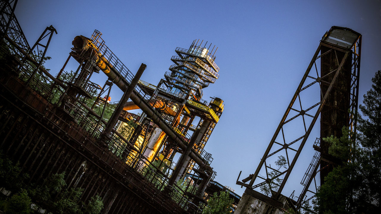 Architecture Built Structure Coalmine Dolni Oblast Vitkovice Futuristic Industry In City Industry Vs Nature Long Exposure Low Angle View Metal Night Sky No People Outdoors Sky Steel Factory Vitokovice
