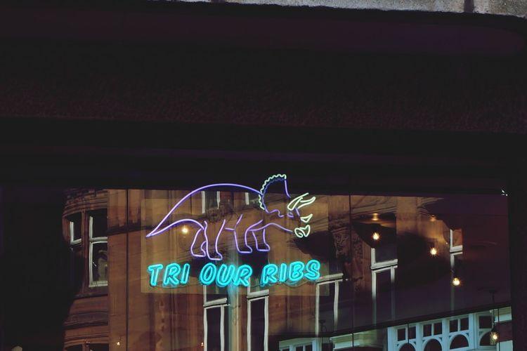 Neon No People London Travel Destinations Neon Lights Dinosaur Reflection Bar - Drink Establishment Postcode Postcards