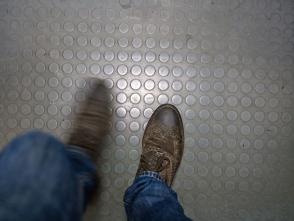 go away Blurred Motion Brogue Brown Brown Shoes Circles Classic Shoes Floor Flooring Go Away Grey Human Body Part Human Leg Jeans Laces Low Section Overstep Personal Perspective Round Shoe Standing Steps Togetherness Trample On Walk Walking