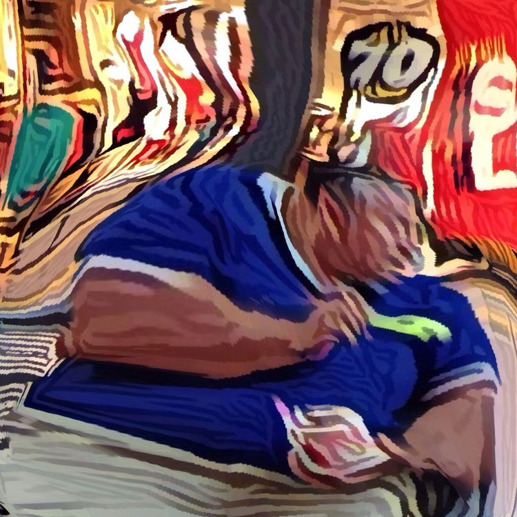 distorted vision of someone eating ice cream in Mississauga by Aldo Pacheco