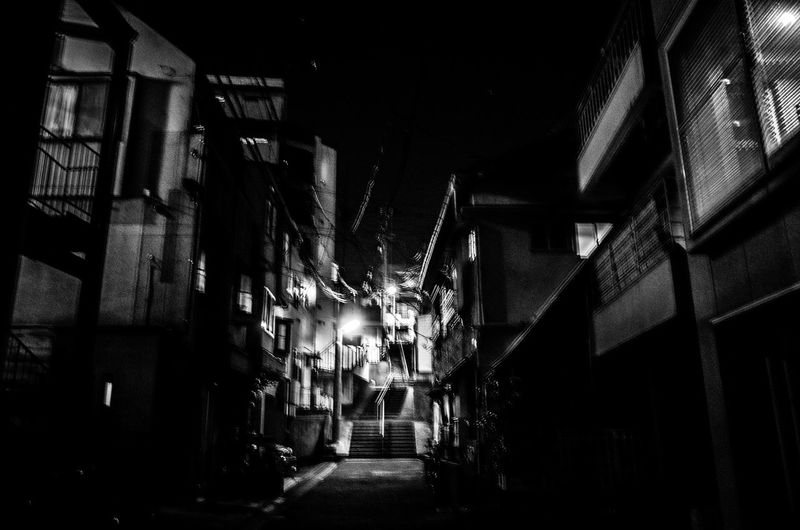 Blur Glitch EyeEm Worst Shots Noisy Contrast Stairways Best Of Stairways From My Point Of View DAIDOISM Walking Around Night Architecture Japanese  Nightphotography Night Lights Night View Silence No People B&w Street Photography Black And White Streetphoto_bw Walk This Way Darkness And Light Getting Inspired Light And Shadow Black And White Friday