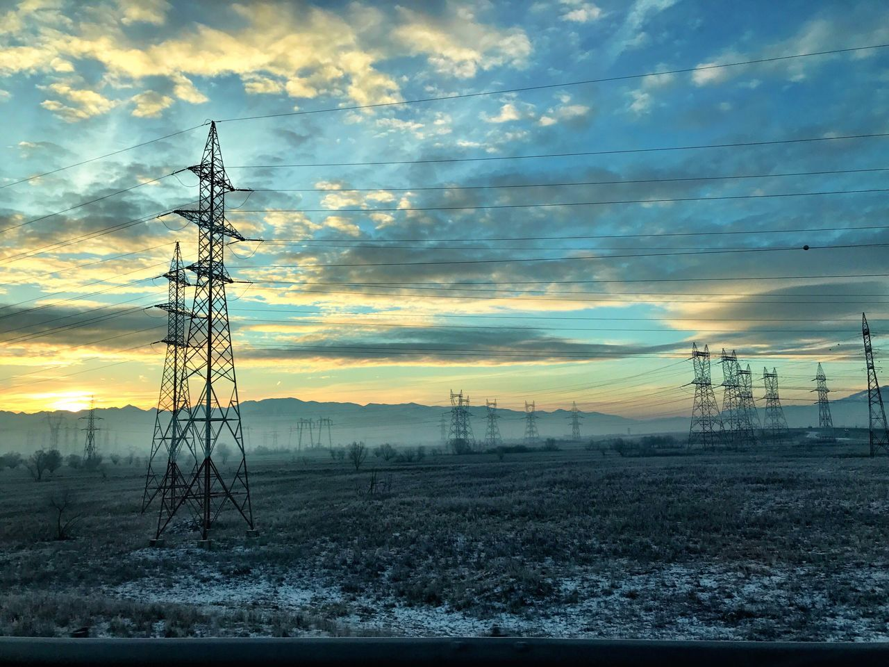 Connection Electricity  Sky Cable Electricity Pylon Power Supply Cloud - Sky Technology No People Power Line  Sunset Field Electricity Tower Nature Outdoors Dramatic Sky Tree Landscape Scenics Beauty In Nature