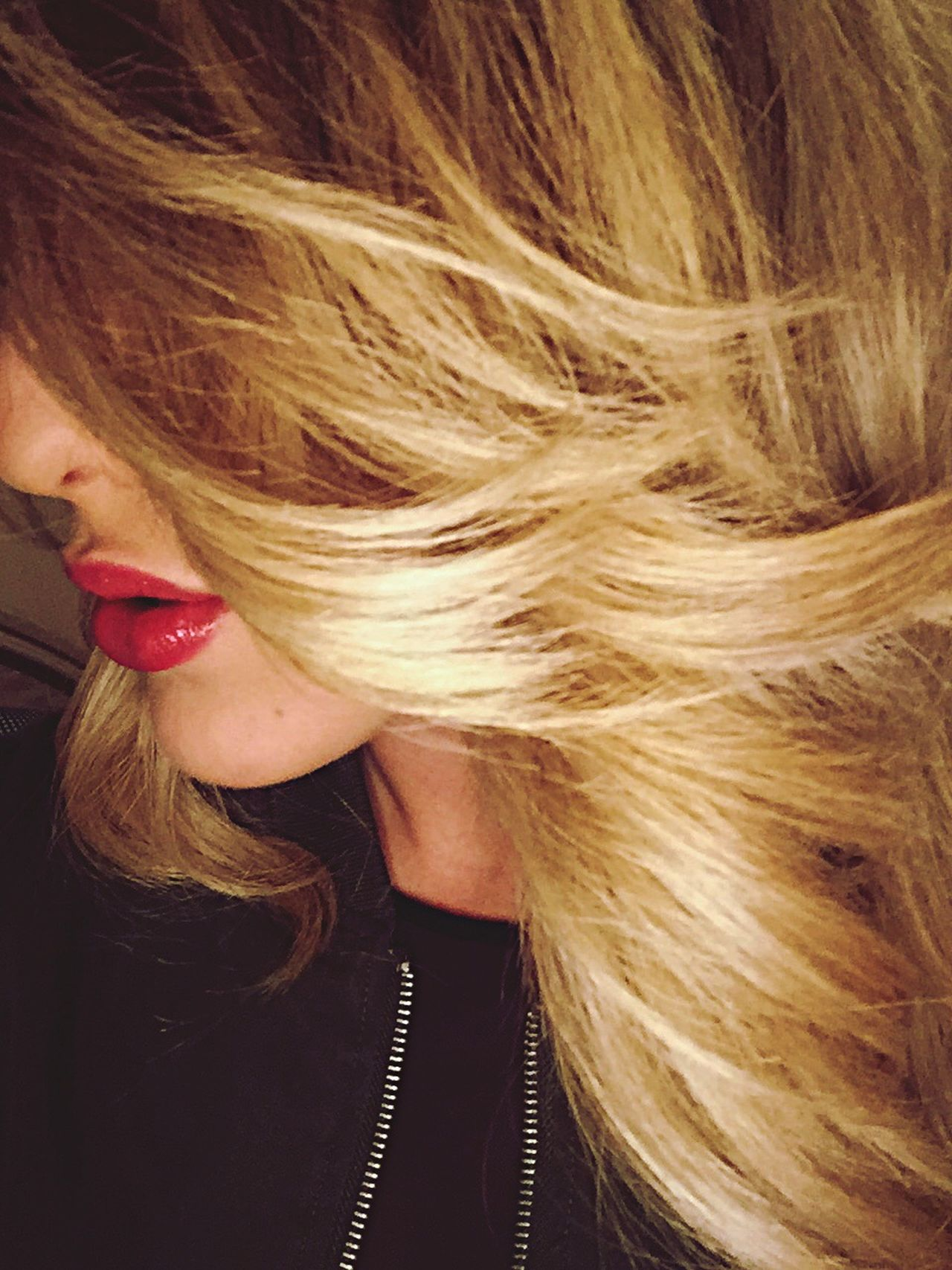 Hair Hair Style Blonde Blonde Girl Girl Lips Lipstick Hairstylist Profile Profile Picture Red Lips Zipper Look Down Hairstyle Haircolor Photooftheday Me Myself And I
