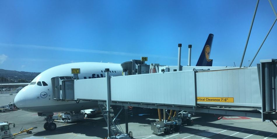 …at SFO for Lufthansa's ✈️ LH455 to FRA.