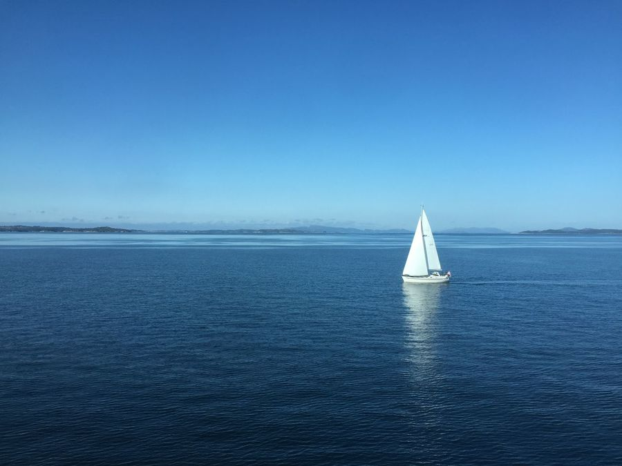 Beauty In Nature Blue Clear Sky Day Horizon Over Water Mode Of Transport Nature Nautical Vessel No People Outdoors Sailboat Sailing Sailing Ship Scenics Sea Sky Tranquil Scene Tranquility Transportation Water Waterfront Yachting The Great Outdoors - 2017 EyeEm Awards