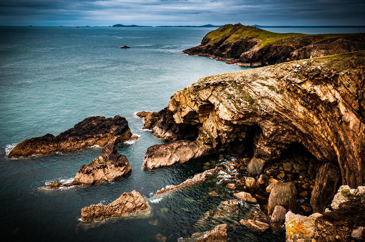 Nr Marloes, Pembrokeshire Coastline Beauty In Nature Coastal Feature Coastline Day Horizon Over Water Marloes Nature Outdoors Pembrokeshire Pembrokeshire Coast Rock - Object Rock Formation Scenics Sea Sky Water