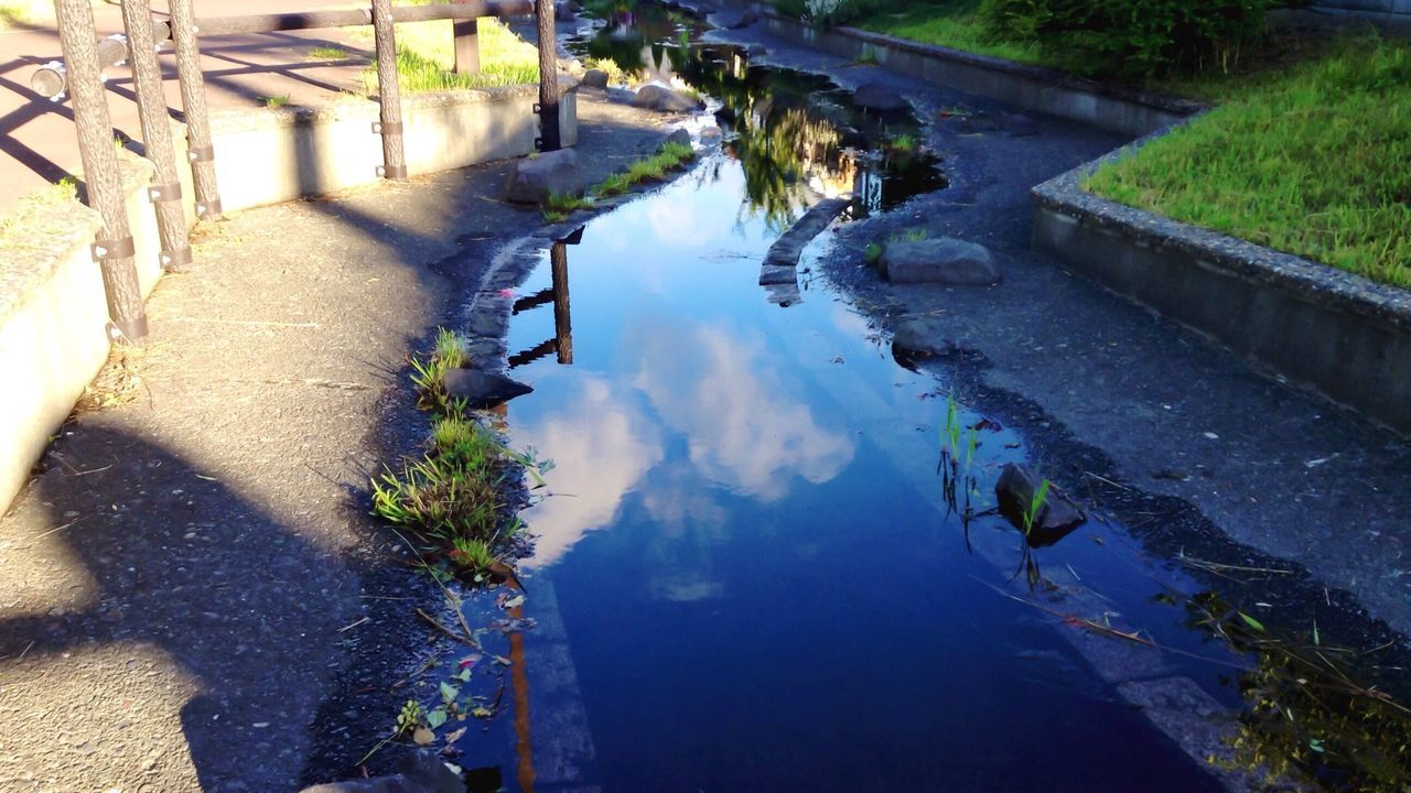 High Angle View Of Clouds Reflecting In Puddle On Street
