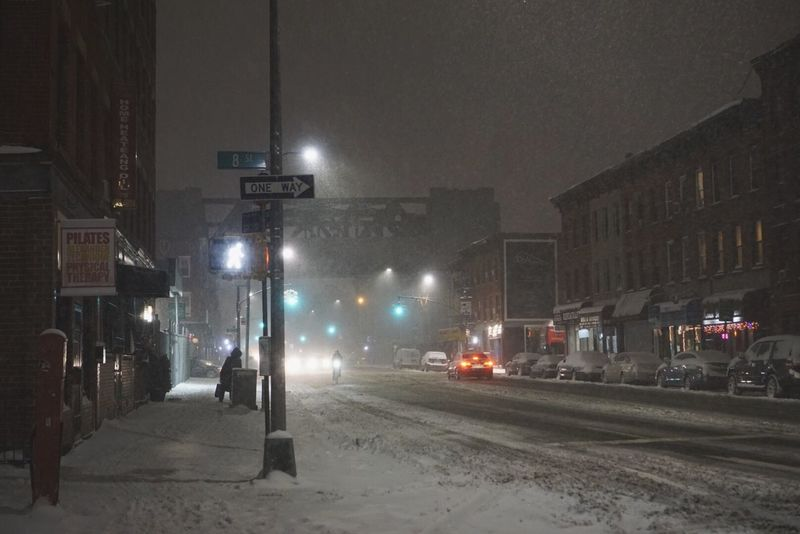 Night Illuminated Winter Built Structure Building Exterior Snow Architecture City Cold Temperature Outdoors Snowing No People Snow Day Snow ❄ Street Light Night Lights Street Brooklyn Walking In The Snow