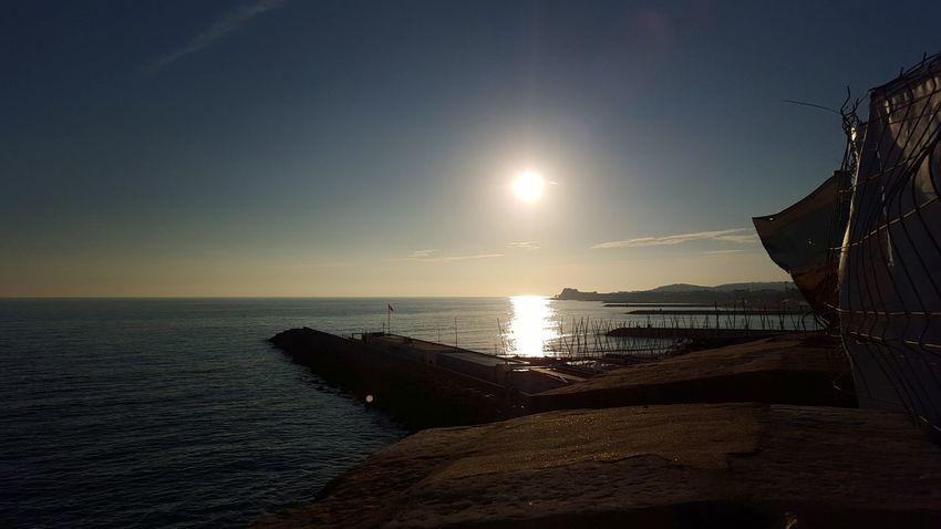 Gone Ovean View Sunset Sundown SPAIN Barcelona Layovers Pier Jetty Dockside Dockyard Silver Waves Silver Water Rhema Mobile Photography Mobilephotography