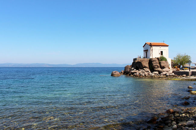 Blue Calm Church Churches Clear Sky Coastline Day Greece Idyllic Lesbos Lesvos Mediterranean  No People Remote Rippled Scenics Sea Sky Tranquil Scene Tranquility Travel Travel Destinations Village Village Life Water