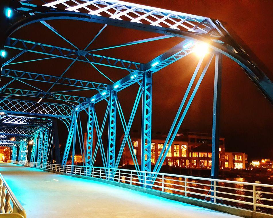 Grandrapidsmi Night Illuminated Arts Culture And Entertainment Outdoors Bridge - Man Made Structure Architecture City No People Bluebridge Miles Away