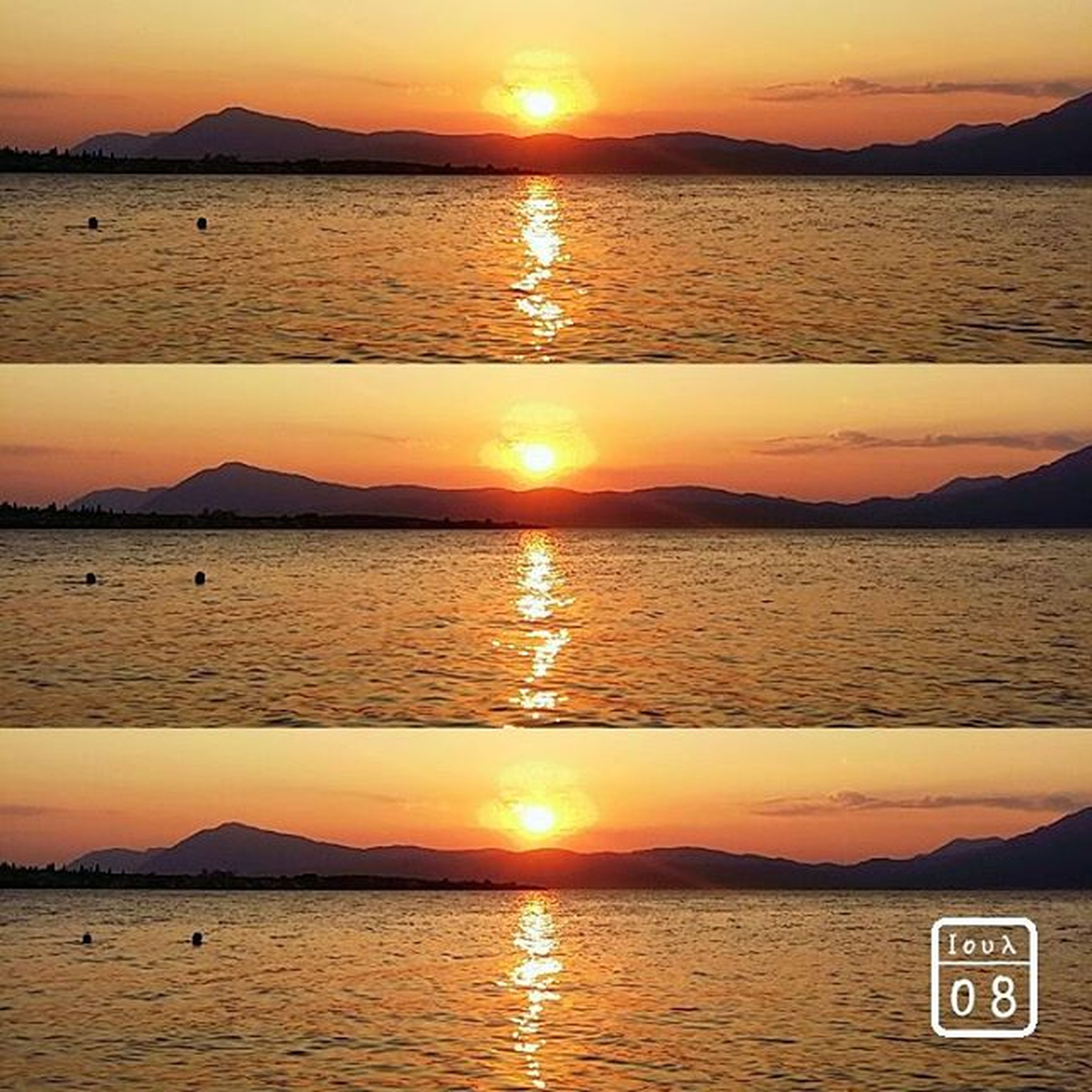 sunset, water, sun, scenics, tranquil scene, orange color, sea, reflection, beauty in nature, tranquility, mountain, silhouette, idyllic, sky, nature, sunlight, rippled, lake, beach, waterfront
