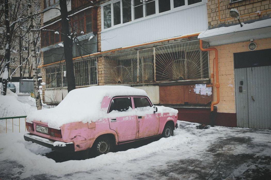 Pink Car Old Wintertime Taking Photos Walking Around Enjoying Life Hello World This Morning Hi!