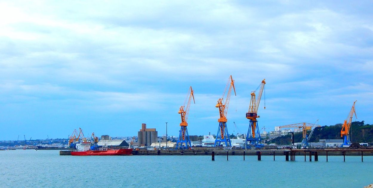 Industrial and Ocean ! Harbour Built Structure Bretagne Brest France Beautiful Blue and Yellow ! Photography Nikon No Filter Colors Contrast Container Clouds And Sky Outdoors Coastline Goodness The Great Outdoors - 2016 EyeEm Awards