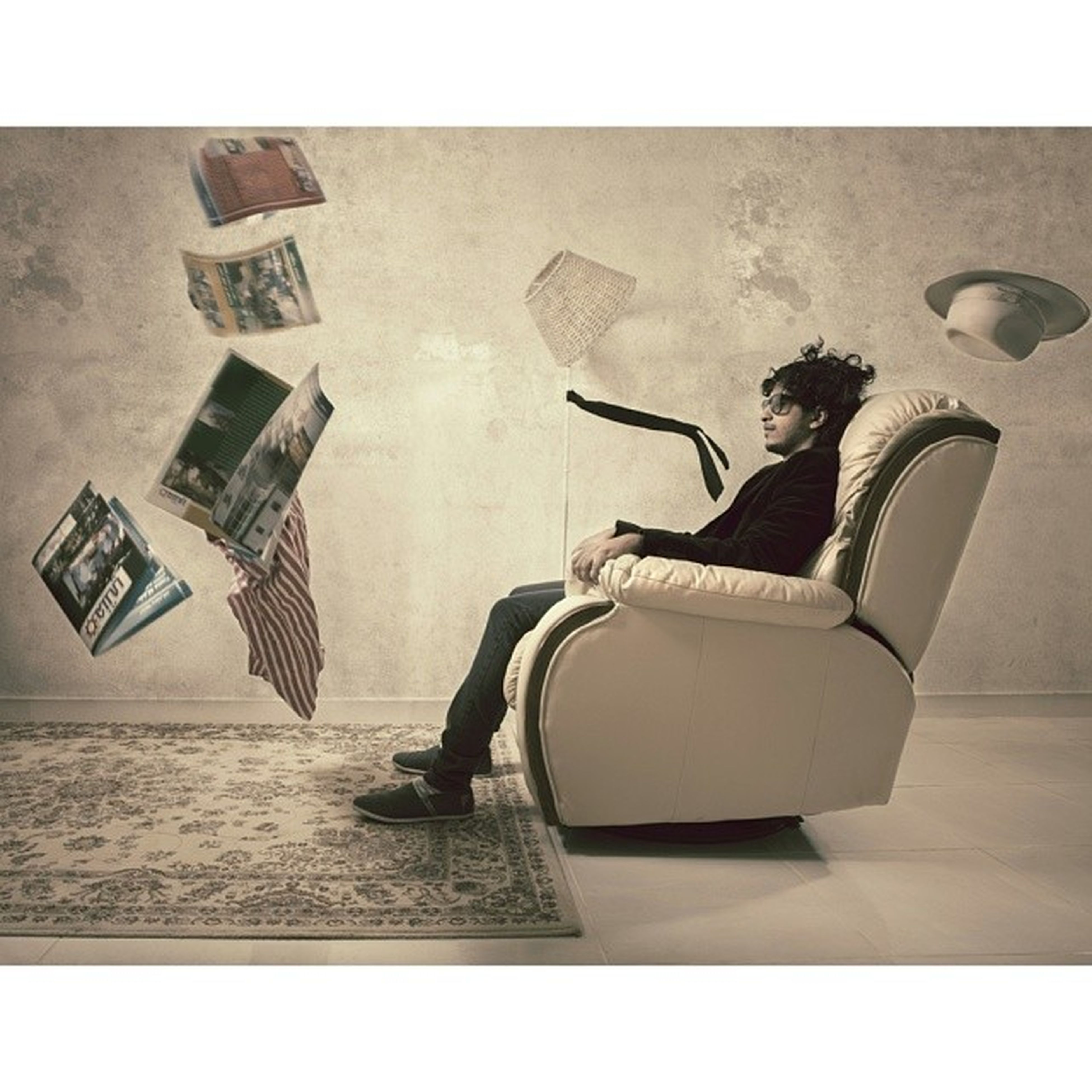 transfer print, auto post production filter, chair, shadow, indoors, sitting, high angle view, relaxation, absence, empty, sunlight, table, day, no people, wall - building feature, side view, full length, flooring, seat, built structure
