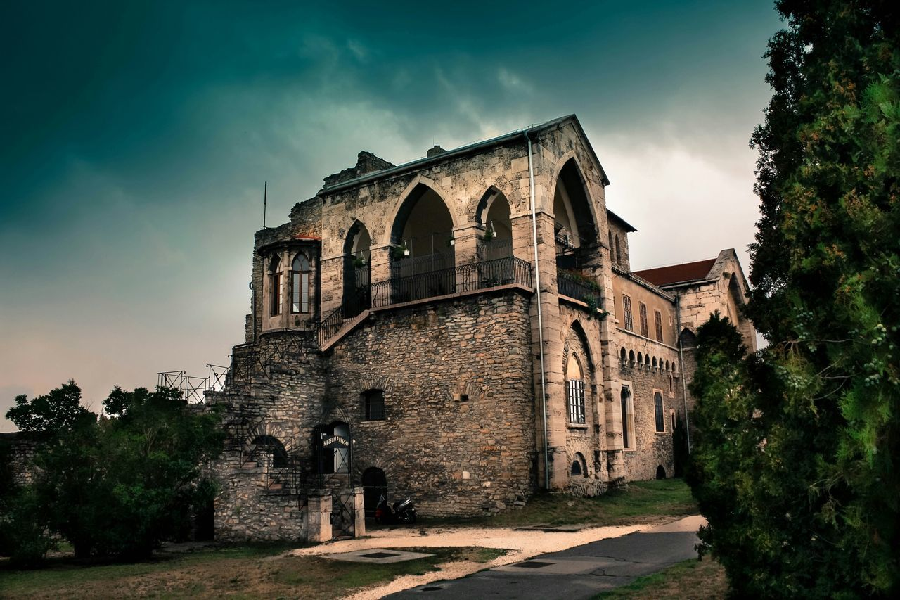 architecture, built structure, sky, outdoors, building exterior, history, arch, no people, tree, low angle view, cloud - sky, old ruin, day