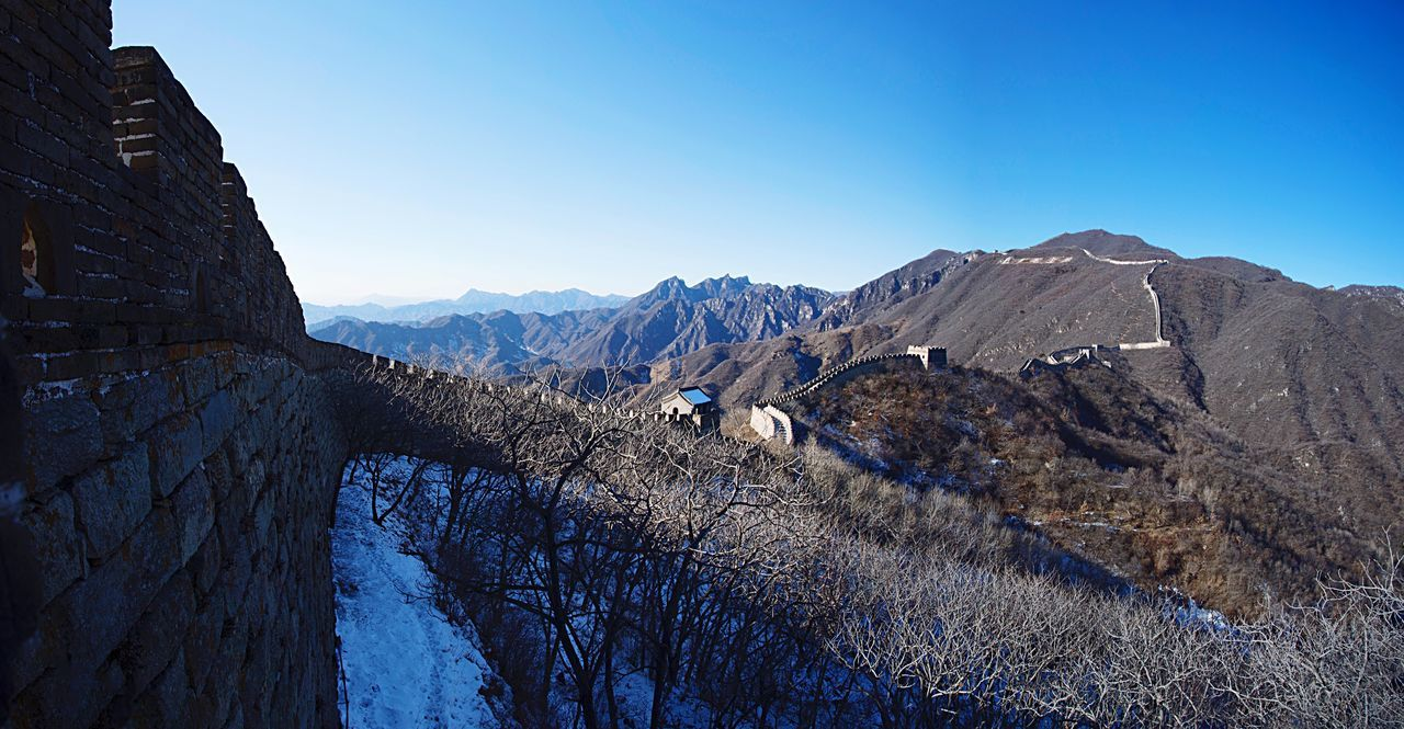 The Great Wall The Great Wall Of China Mountains Mountain Range View Landscape Panorama Nature Outdoors No People China Asian  Travel Traveling Heritage Culture History Architecture Monument Blue Sky Sunlight Perspective Chinese Beijing ASIA