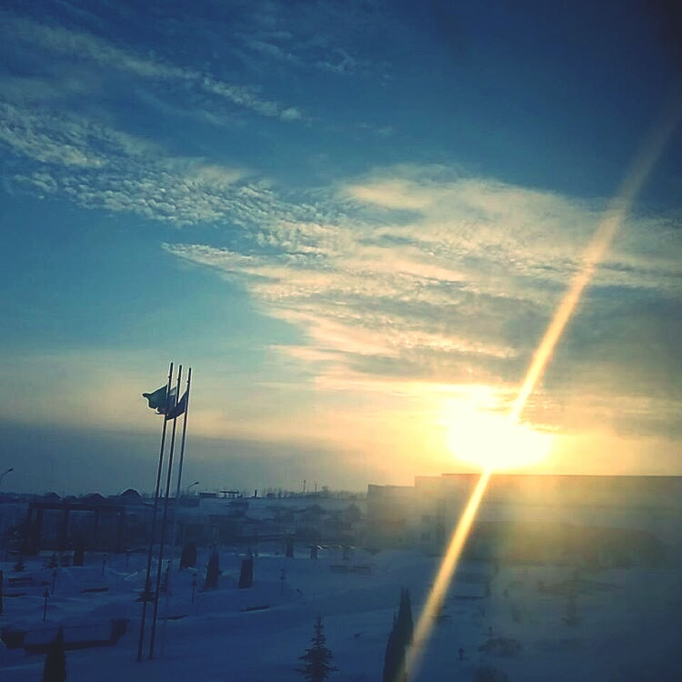 cold temperature, snow, winter, sunset, beauty in nature, nature, sunlight, sky, tranquility, no people, scenics, tranquil scene, sunbeam, cloud - sky, outdoors, tree, day