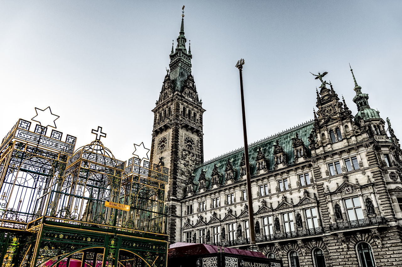 Town Hall Hamburg Antique Architecture Building Exterior Built Structure Christmastime City Day Hamburg City Hamburg Town Hall Low Angle View Morning No People Outdoors Sky Travel Destinations