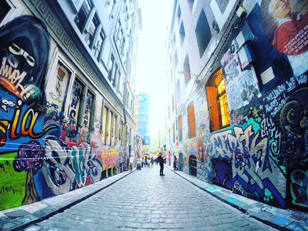 Hosier lane. Architecture Building Exterior Built Structure City Street Art City Life Day Lifestyles Outdoors Men Adult People Sky EyeEmNewHere Art Is Everywhere The Secret Spaces Solotravel Melbourne Backpacker Australia The Way Forward Scenics Walking Gopro Traveler Art Is Everywhere Break The Mold TCPM Break The Mold