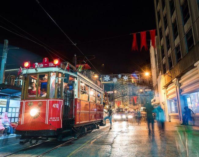 Nostalgic Tram from Istanbul, Turkey. Istiklal Street. Taksim Taksim Istiklal Istanbul Istanbul Turkey Beyoğlu Tram Istiklalcaddesi