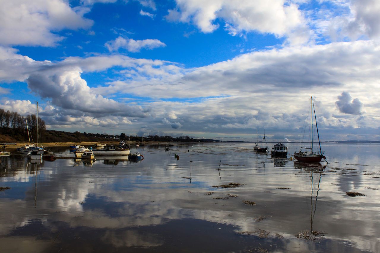 Beauty In Nature Boat Cloud - Sky Clouds And Sky Day High Tide Lake Mode Of Transport Moored Nature Nautical Vessel No People Outdoors Reflection Reflections In The Water River Dee  Sailing Sailing Ship Sky Tranquility Transportation Water Waterfront Wirral Wirral Peninsula