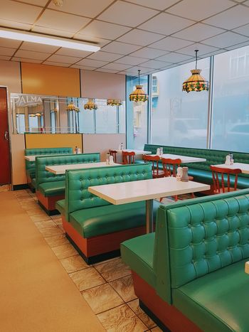 Indoors  Business Finance And Industry No People Interior Retro Styled 1970s Inspired Cafe Blackpool No People, Empty Seats Retro Cafe Day Multi Colored