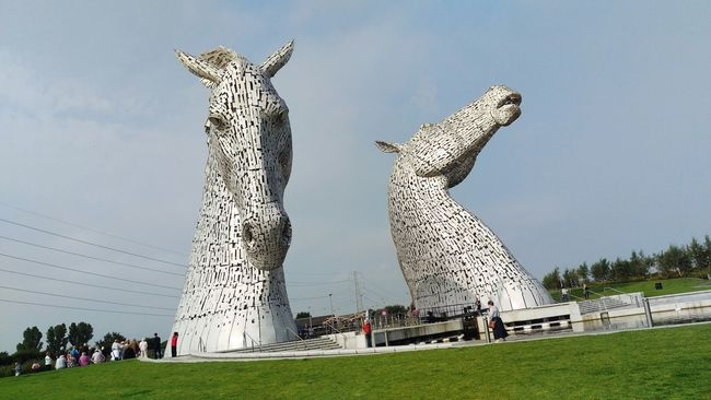 Travel Destinations Lawn Famous Place Day Tourism Outdoors Monument Tall - High Sky Kelpies Of Falkirk Kelpies  Scotland Photography Travel