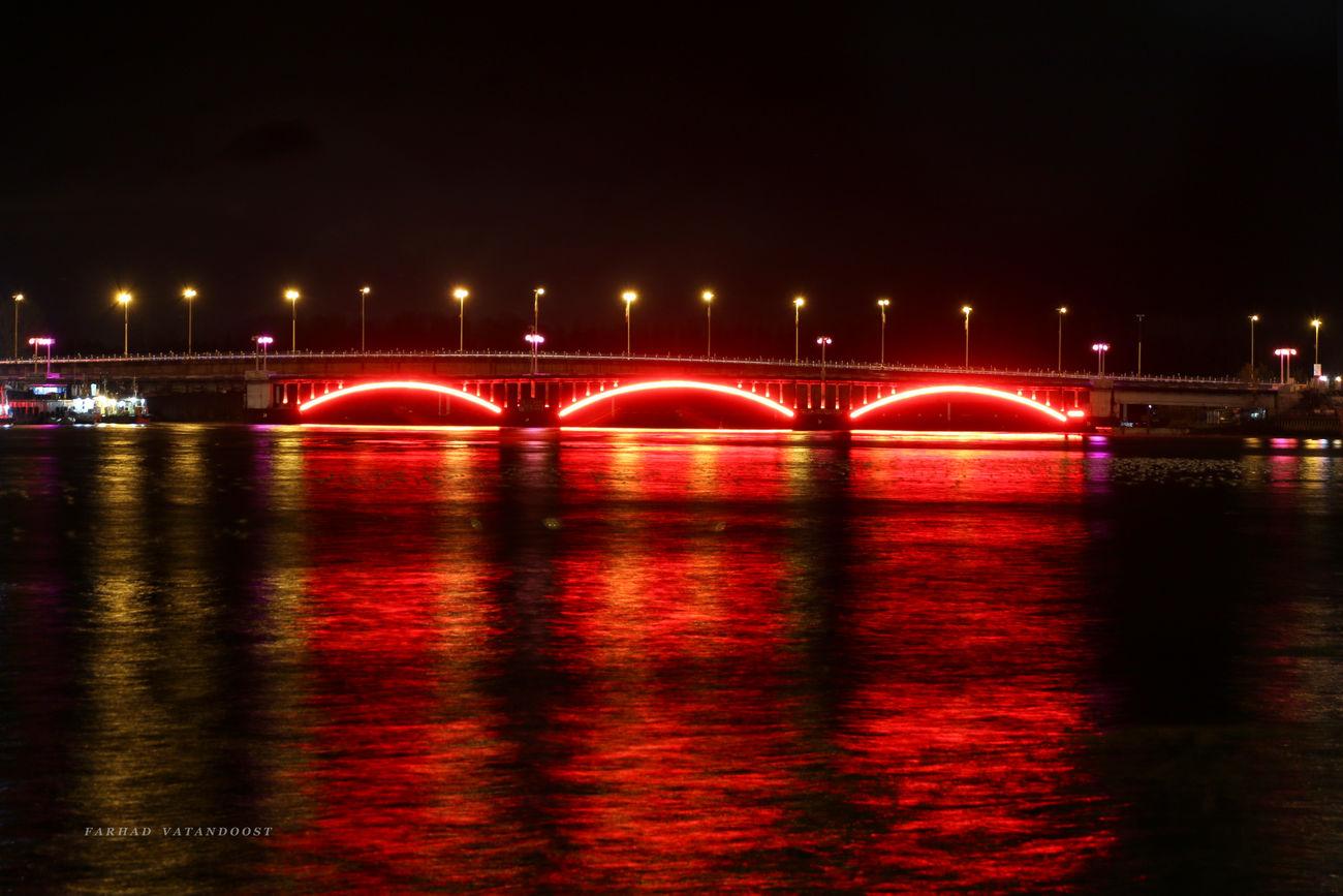 Bridge Night Light Sea Canon 70d Caspian Sea