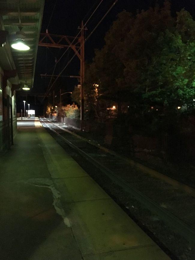 City Life Dark Diminishing Perspective Empty Illuminated Lighting Equipment Night No People Outdoors Railroad Track The Way Forward Train Station Vanishing Point