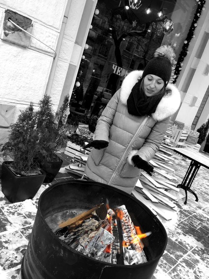 Nothing like a winter fire to keep you warm Young Women Winter Fire Keep Warm Odessa,Ukraine Young Adult Cold Winter ❄⛄ Enjoying Winter Black And White Photography