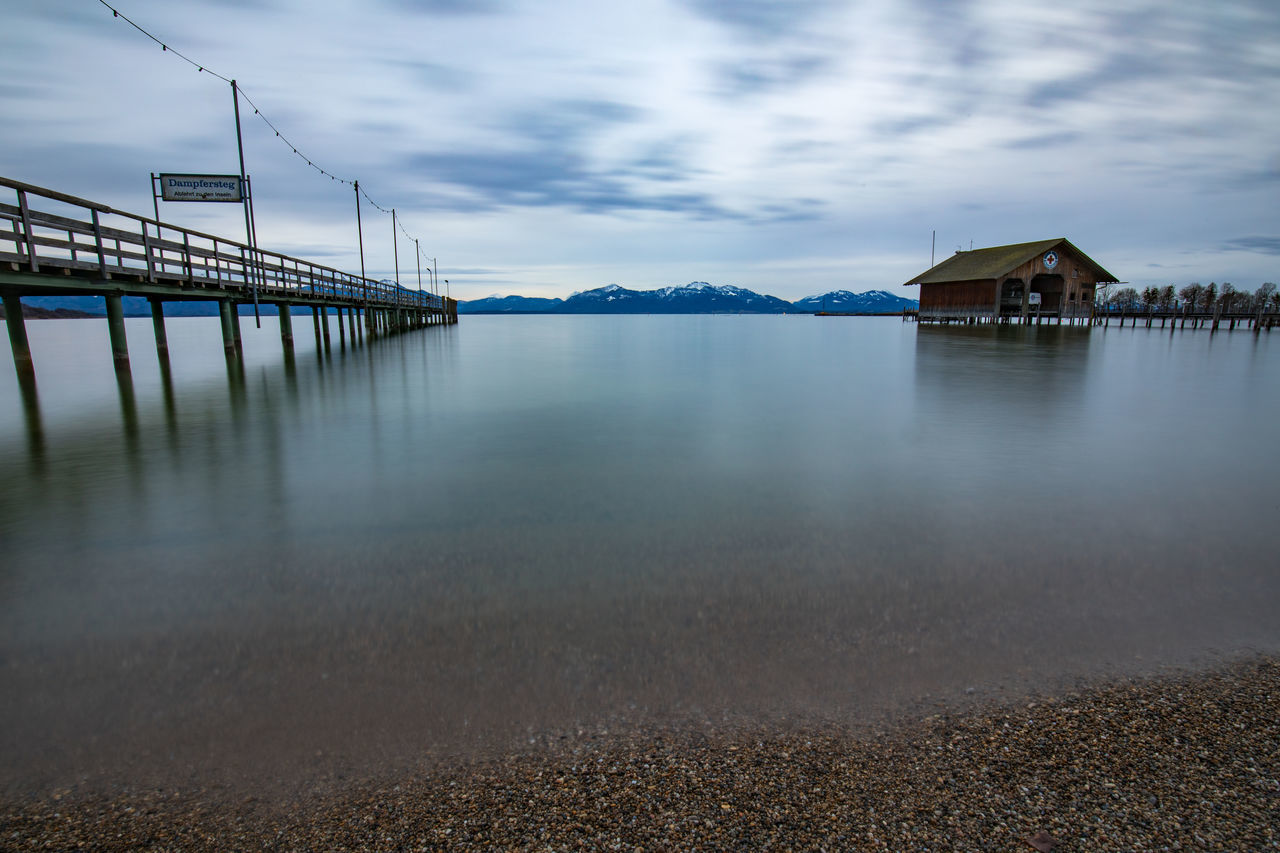 Alps Bavaria Beach Chiemsee Clear Water Clouds And Sky Dampfersteg Evening Germany Lake Landscape Long Exposure Seeon-Seebruck Silence Tadaa Community Wasserwacht Wood Travel Travel Destinations