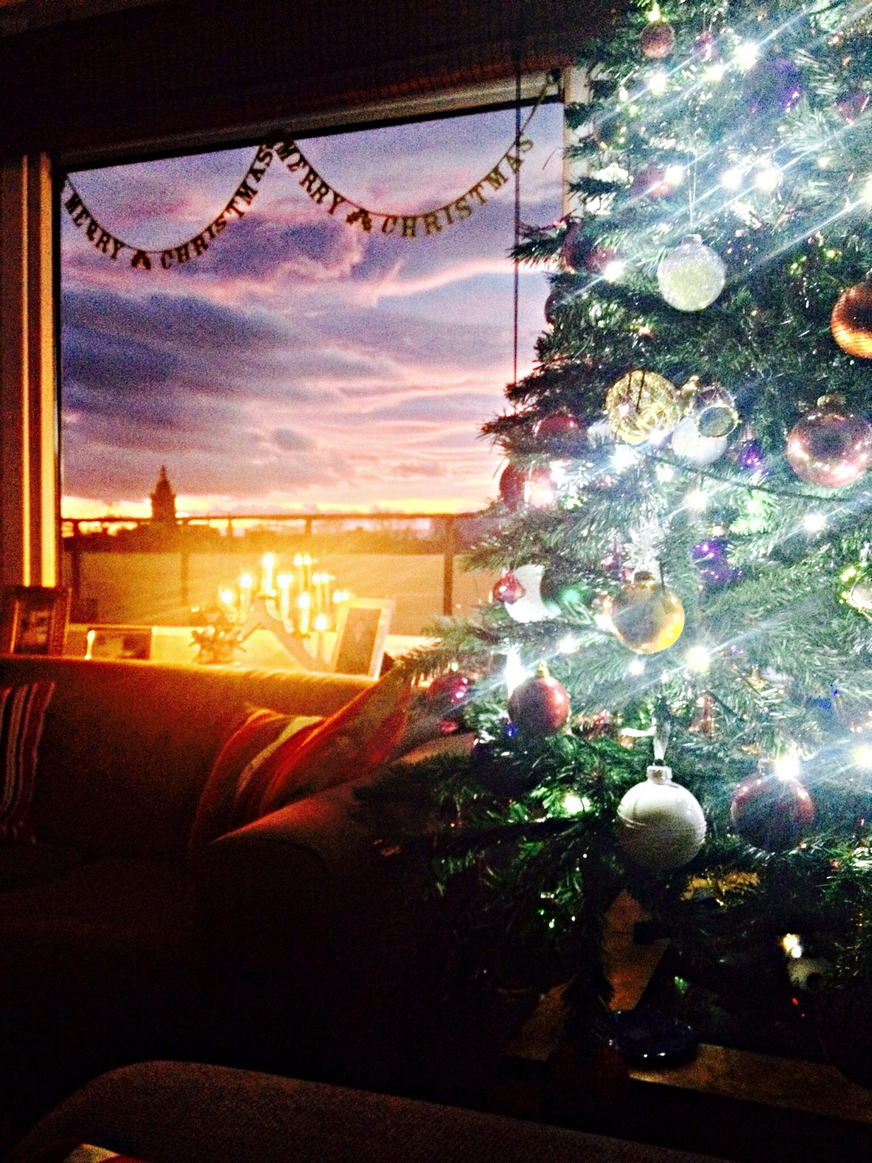 indoors, christmas, tree, window, christmas tree, sunset, celebration, home interior, sky, christmas decoration, illuminated, no people, christmas lights, architecture, close-up, day