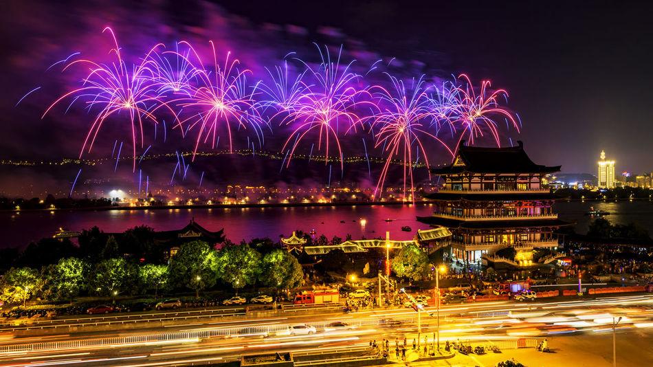 Changsha Fireworks Battle Of The Cities Changsha Changsha,China Fireworks Embrace Urban Life