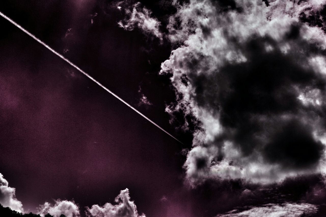 sky, vapor trail, no people, nature, contrail, scenics, beauty in nature, majestic, low angle view, cloud - sky, tranquil scene, outdoors, tranquility, day