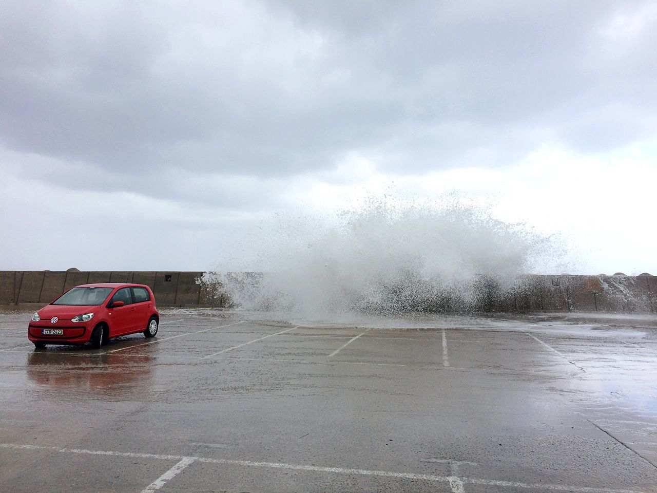 Car Parking Parking Lot No People Stormy Weather Sea And Sky Waves Ocean Spray Outdoors Day Coast Cloud - Sky Red Car Noise Roaring Sea Alone Only Left Behind Power Of Nature