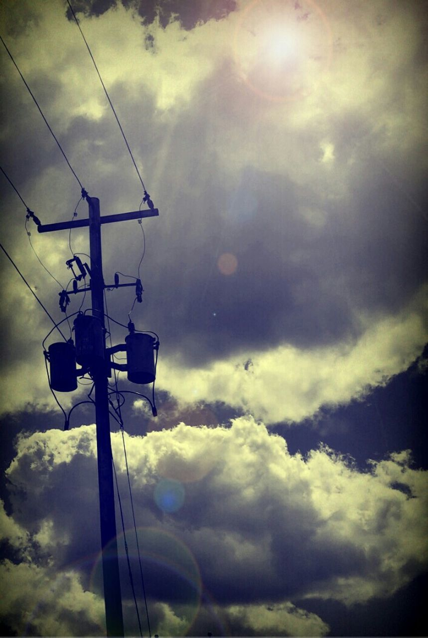 cloud - sky, low angle view, sky, cable, day, outdoors, no people, nature, technology