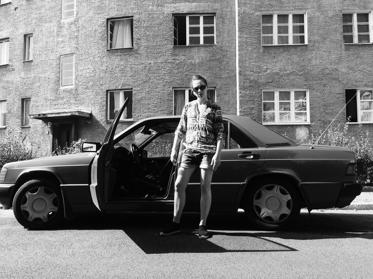 Car DDR Gangster Style Hood Me And My Car Real People Side View Street Street Photography Black And White Blackandwhite Berlin