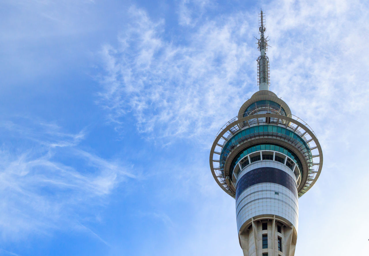 Auckland Sky Tower from the bottom Architecture Blue Building Exterior Built Structure City Cloud - Sky Day Eye4photography  EyeEm Best Shots Low Angle View Modern No People Outdoors Sky Skyscraper Tower Travel Destinations
